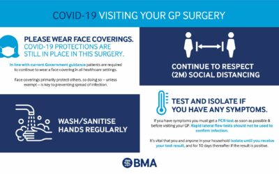 Face coverings still required in GP practices